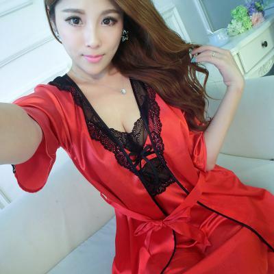 be7119d27 ... Robe de seda Faux 2 Peça para as mulheres Roupa de Dormir De Cetim  pijamas Para As Mulheres Pijama Femme Sexy Camisola Conjunto Robe Quimono  Sleepwear ...