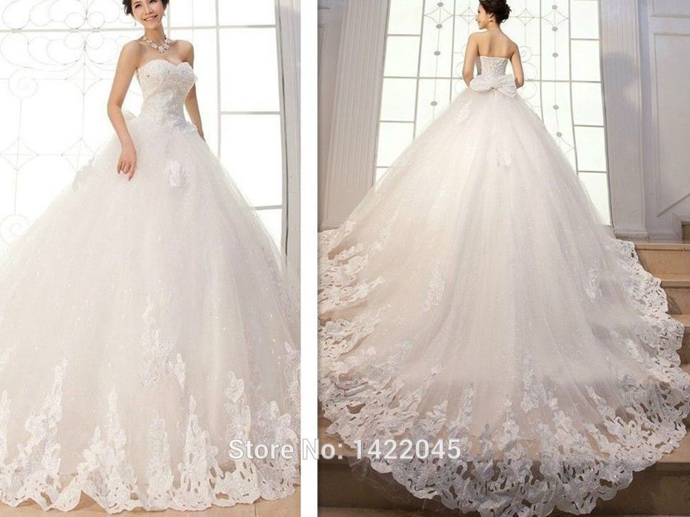 New-Appliques-Ball-Gown-Elegant-Wedding-Dresses-Bridal