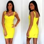 Yellow Bandage Bodycon Dress