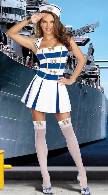 Uniformes de la marine Sans Manches Bleu avec Blanc Jupe Plissée Sexy Fille  Cosplay Jeu de Rôle Vêtements pour Femmes Féminin CA389 05a7c8b9341e