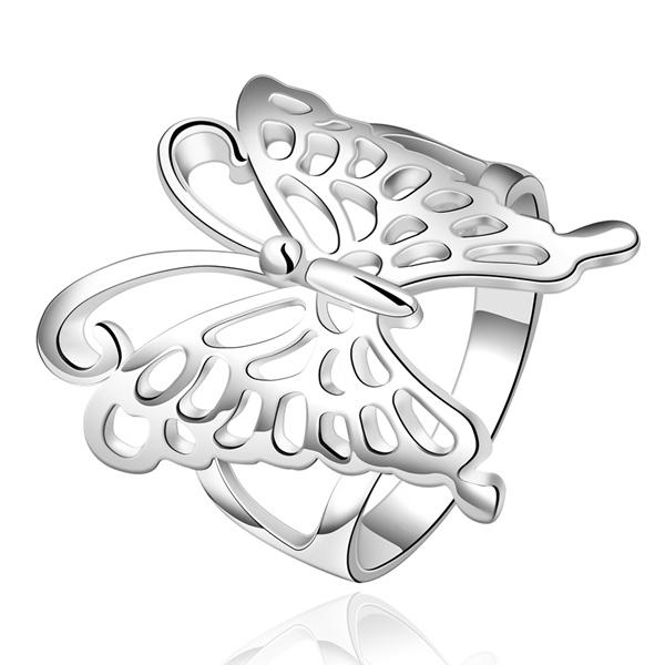 Plateado lindo mujeres señora mariposa personalidad de la moda ... aa944cfb83e3e