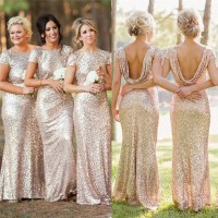 Champagne Gold Long Bridesmaid Dresses Sequined Short ...