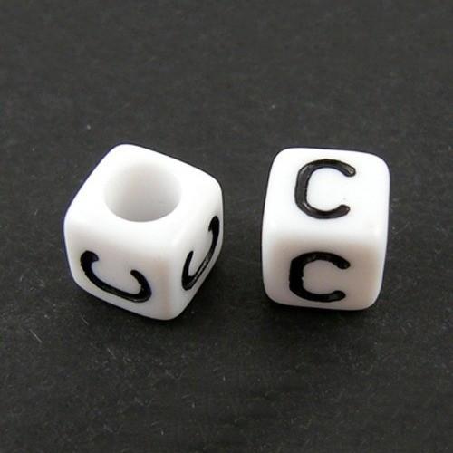 50pcs Rose Simple 6 mm Alphabet//Lettre Acrylique Cube Perles Un