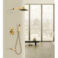 New Luxury Bathroom Brass 8 Inch Waterfall Rain Shower Head Arm Gold Wall Mounted Shower Faucet