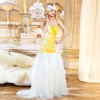 yellow and white wedding dress aliexpress com buy ...