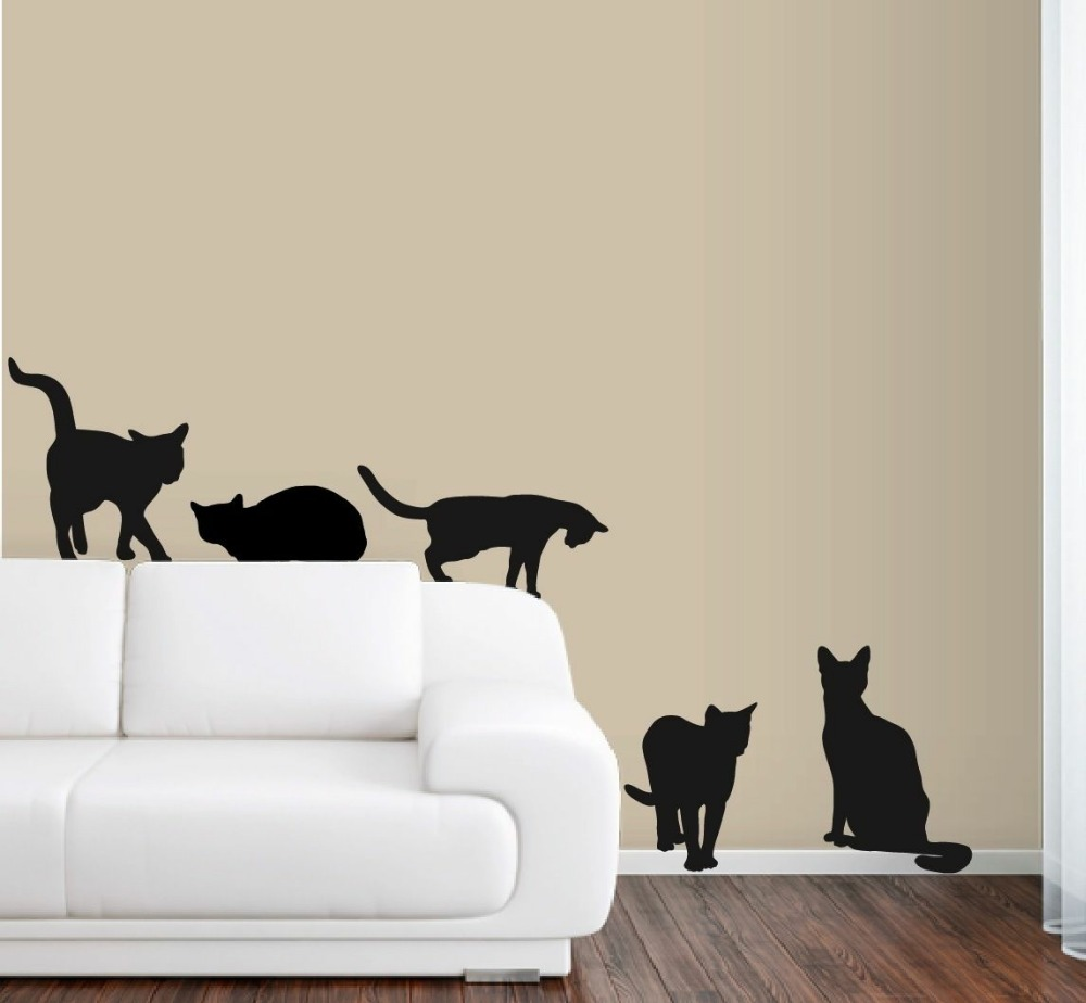 6 Cats Wall Decals in Life Size Deco Art Sticker Mural