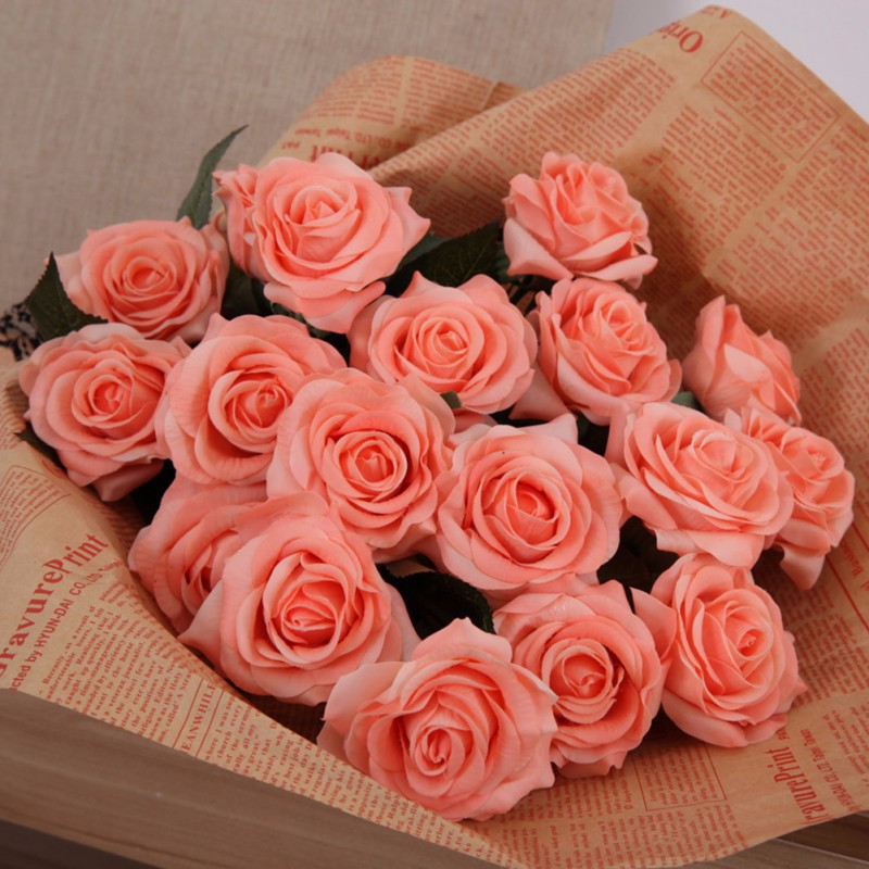 New artificial silk latex rose flowers wedding bouquet bridal getsubject aeproduct junglespirit Gallery