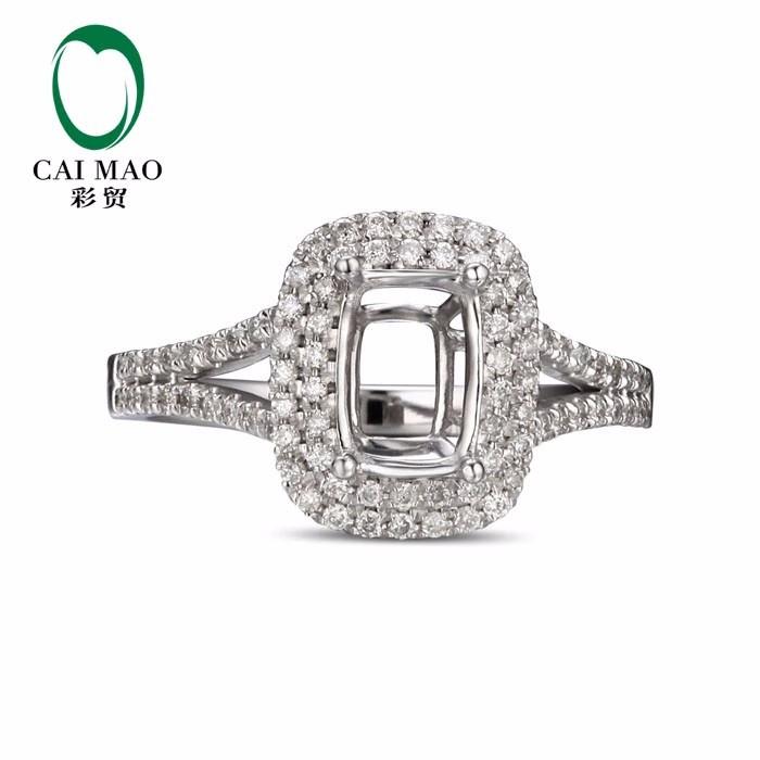 1e42f4b23644 Caimao Cojines cortar semi montaje anillo ajustes y 0.35ct diamante 14 K oro  blanco anillo de compromiso de piedras preciosas Joyería fina