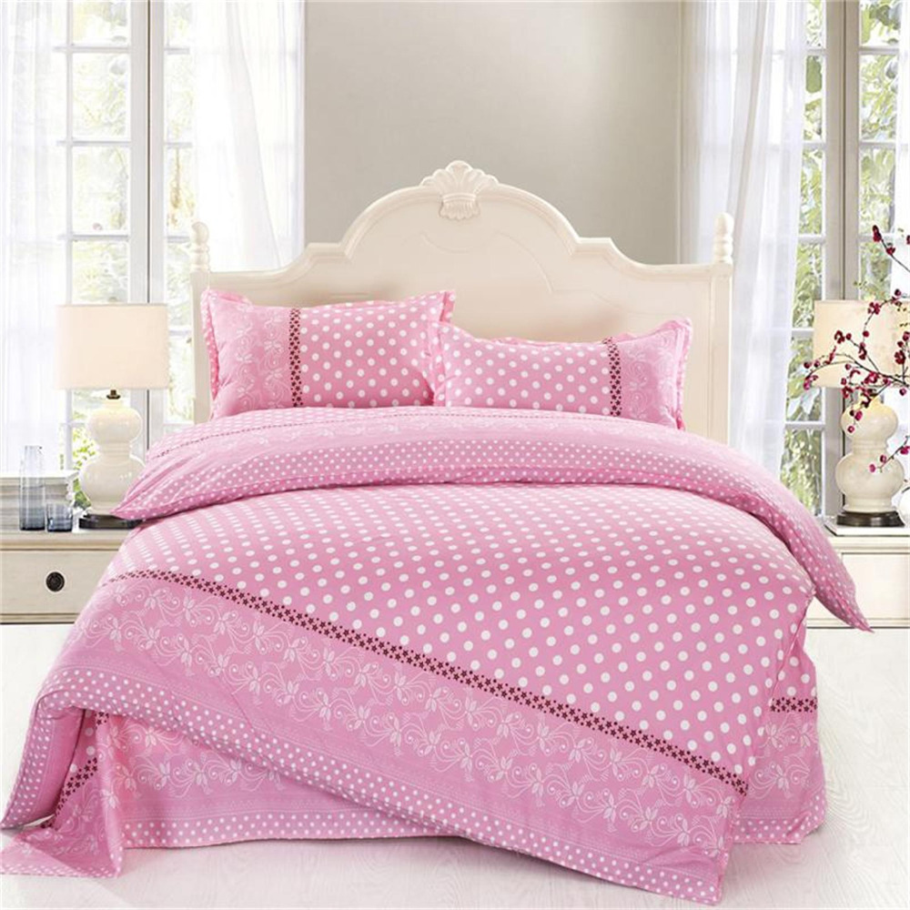 4PCS twin full size white polka dot comforter sets pink