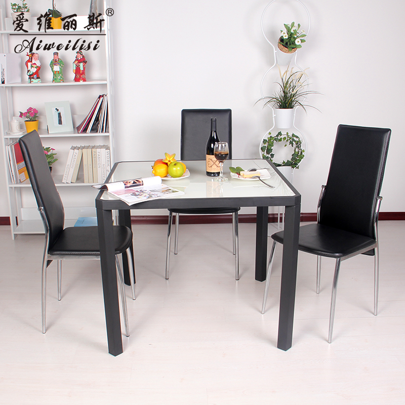 Aiweilisi square table glass dining tables and chairs combination of small apartment modern