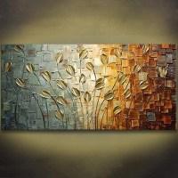 Unframed Handmade Texture Knife Flower Tree Abstract ...