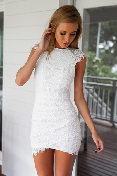 White Long Sleeve Floral Crochet Bodycon Dress