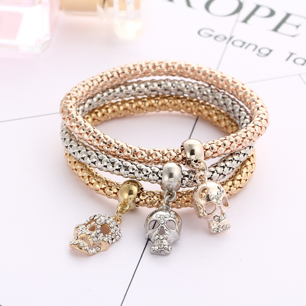 2016 Hot Sale Skeleton Charm Bracelets For Women Fashion Silver New Arrival Cocoa Jewelry Gelang Golden Time Color 3320215673 793437558 3320224392 3320817931 3320820310 3320209950