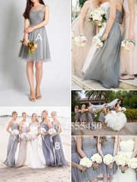 Silver Grey Long Chiffon Bridesmaid Dresses Ruched A line ...