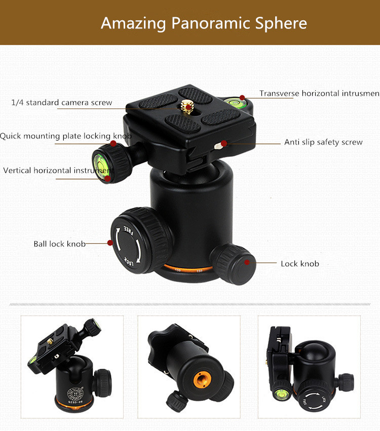 2016 QZSD Q278 קומפקטי קל משקל החצובה חדרגל & מקצועית כדור בראש Canon Nikon DSLR מצלמה / נייד מצלמה לעמוד