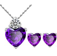 Platinum plated purple heart shaped necklace earrings set