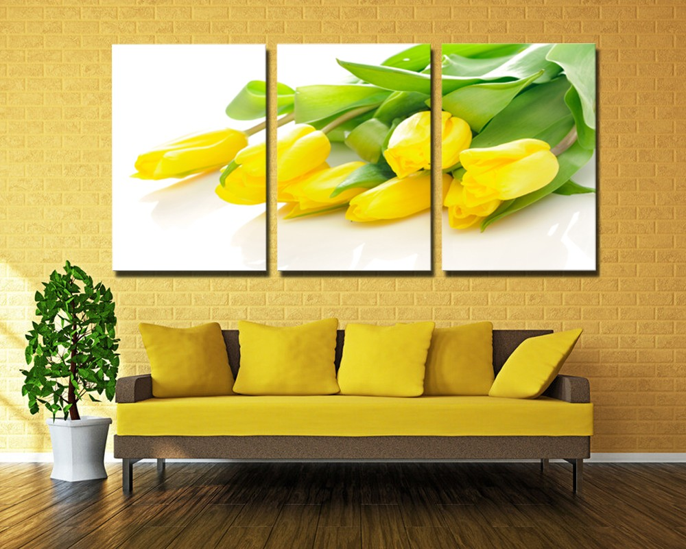 Nº3 Pieces Modern Yellow Tulips Bright dripping Large Canvas Wall ...