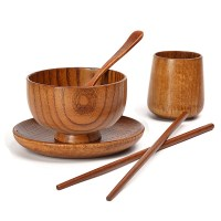 Solid Wood Green Dishes Korean Wooden Tableware Japanese ...