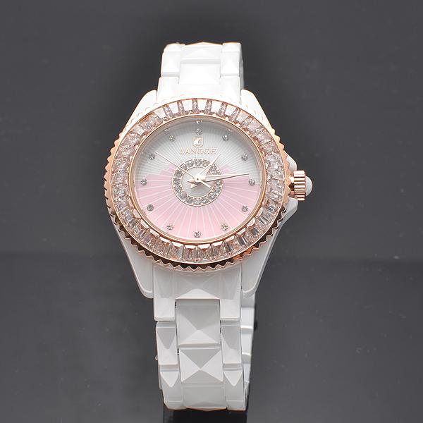 2013 white ceramic table watch diamond watch ultra thin