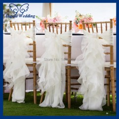 Wedding Chair Covers Wholesale China Rope Hammock Swing Ch010a Cheap Chiffon And Organza White Ruffled Cover With Buckle-in ...
