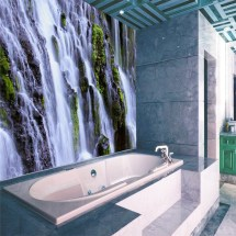 3D Waterfalls Wall Mural Bathroom