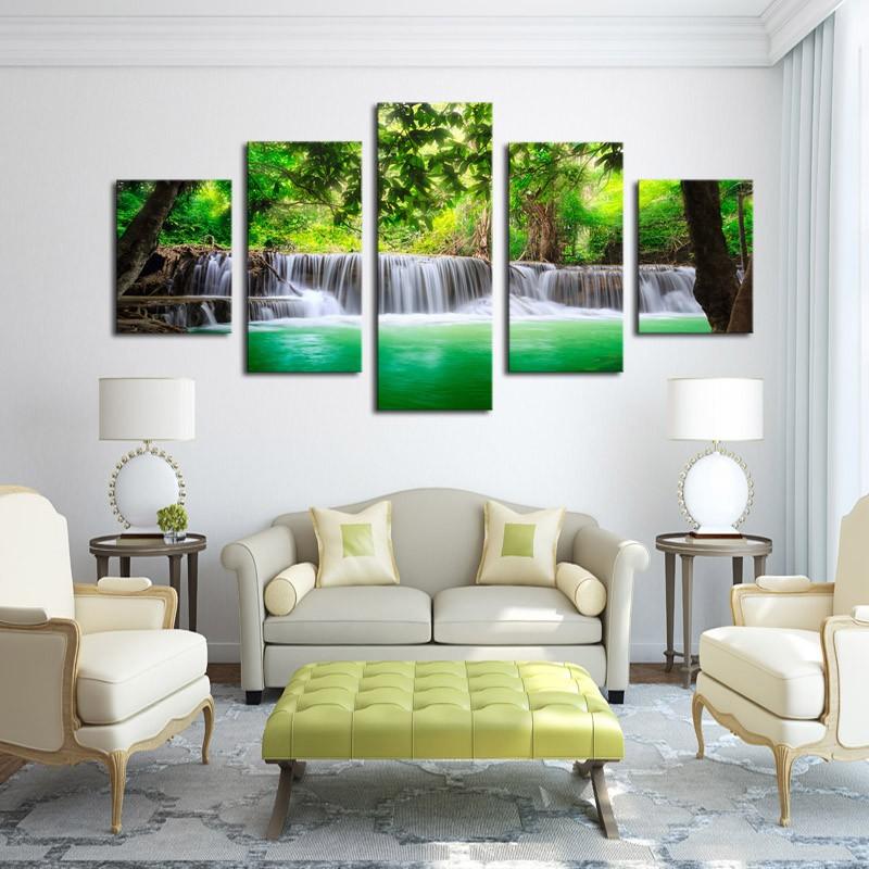 Φ_ΦEnmarcado 5 paneles verde cascada paisaje Impresión de lienzo ...