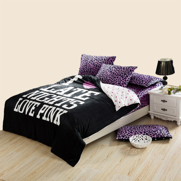 Korean Fashion Men With Velvet Bedding Leopard Four Sets