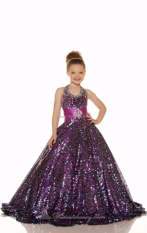 Purple Sequins Halter Neck Girl Gowns Shiny Sequins Cheap