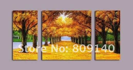 Free Shipping Decoration Oil Painting Abstract Golden Road