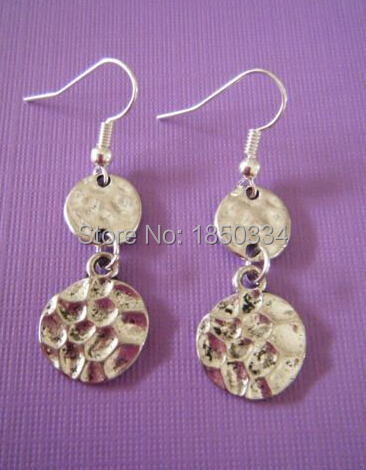 4919737bb43a ᐅ20 par de plata antiguo martillado círculos Amuletos cuelga ...