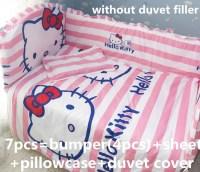 Discount! 6/7pcs Hello Kitty baby crib bedding set 100% ...