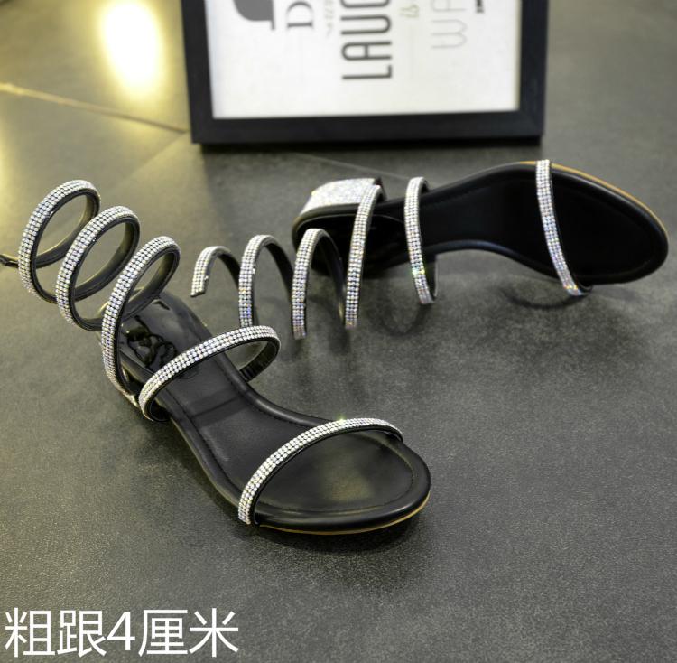 e8d51d6c45890 TINGHON Summer Luxurious gladiator sandals women Flat Sandals Snake Punk  Rhinestone Thick Heel Women Sandals Wedding shoes
