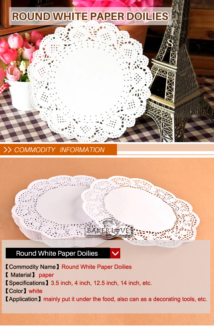 Bakest 10 White Round Paper Doilies Wedding Decorating Tools