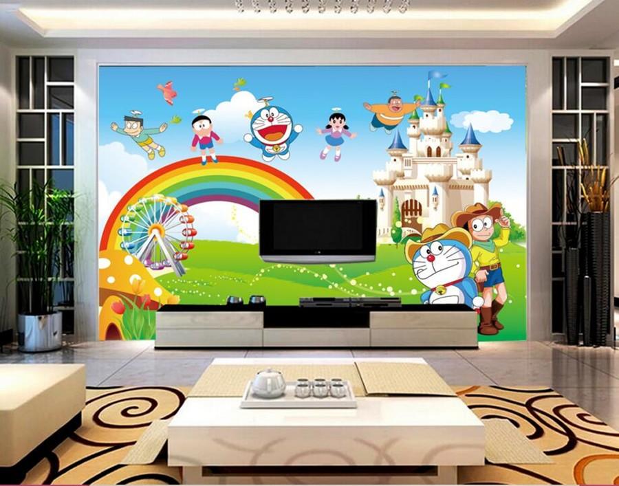 Φ_Φمخصص للجدران 3 د ، لطيف الكرتون القط خلفية ، غرفة المعيشة