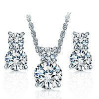 925 Sterling Silver Wedding Necklace and Earring Set Cheap ...