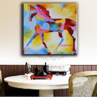 Handmade-Oil-Painting-Colourful-Horse-Paintings-Abstract ...