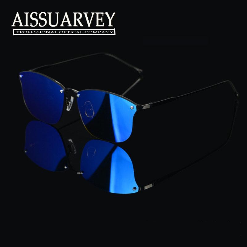 Moda Pure Titanium gato ojo gafas marco con polarizada reflexión ...