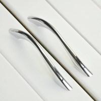 Modern Bathroom Kitchen Drawer Pull Handles Silver Chrome ...