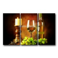 3 Piece Painting On Canvas Wall Art White Wine Goblet ...