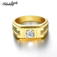Mens Ring 18K Gold Plated Rings For Men Round Brilliant ...