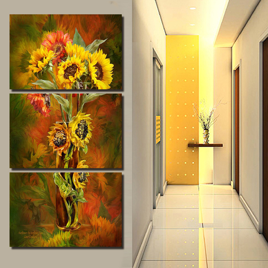 ᐃCLSTROSE Hot Spray Painting 3 Panels Flowers Painting Canvas Wall ...