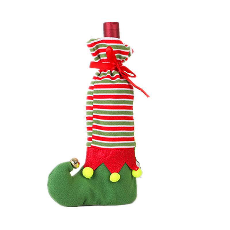 1 unid regalo creativo Bolsas Navidad Elf punto raya patrón botella ...