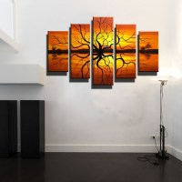 5 piece canvas wall art large Abstract modern orange ...