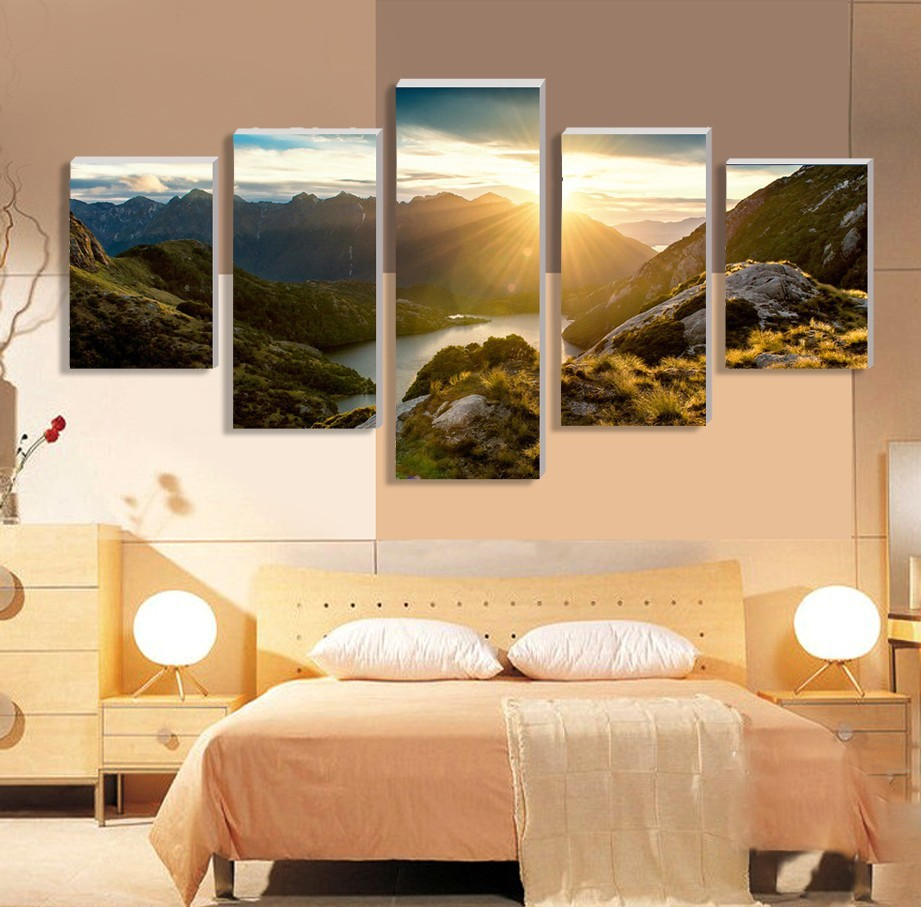 ᐂCLSTROSE Modern Mountain And River Landscape Canvas Painting 5 ...