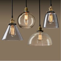 New Vintage Clear Glass Pendant Light Copper Hanging Lamps ...