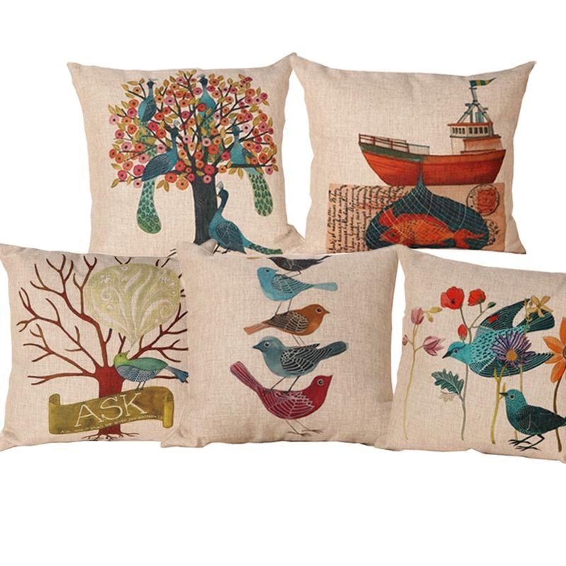 Linen Cotton Blending New Design Printed Seat Cushion