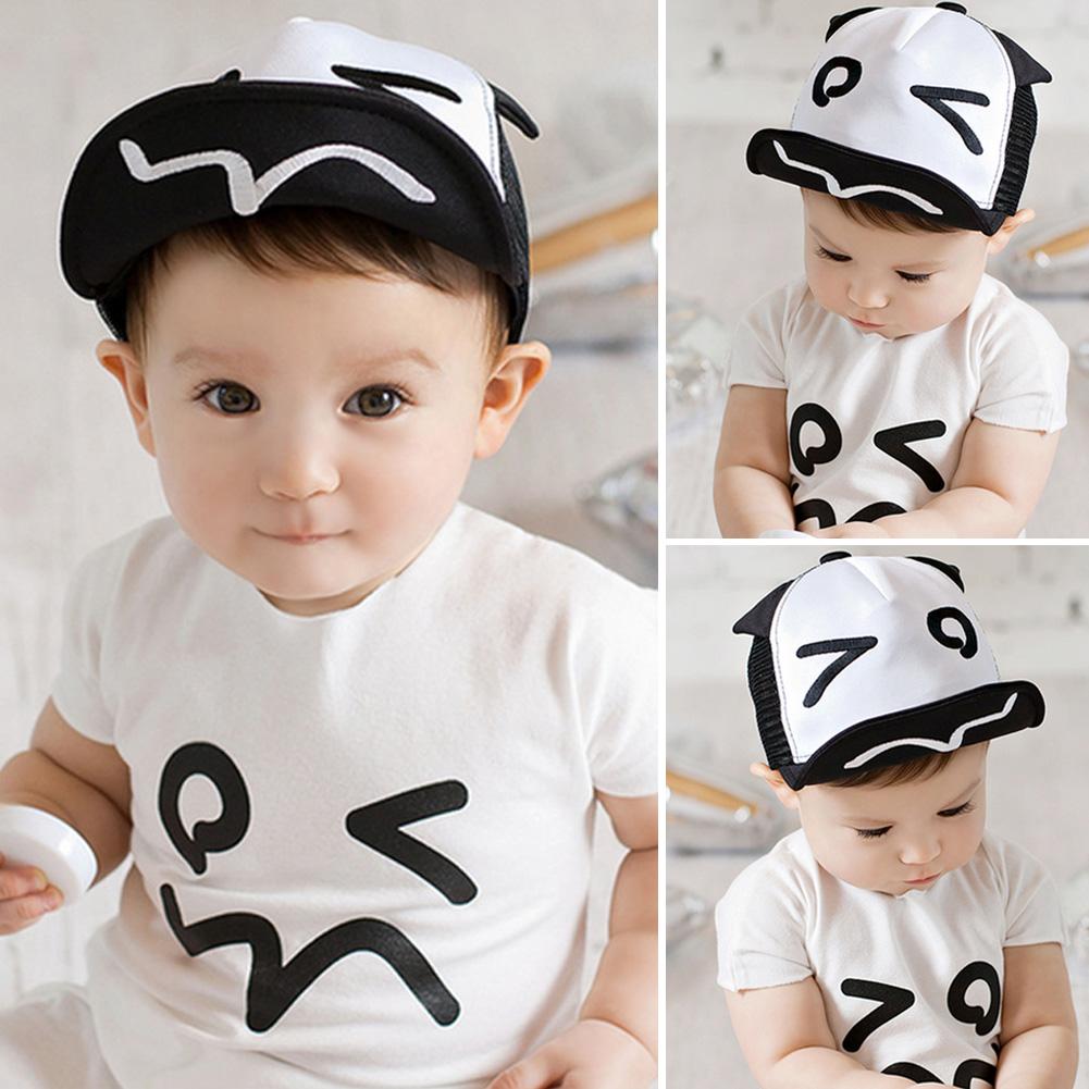 ᗕSombrero del verano del bebé blanco y negro sombrero de béisbol ...