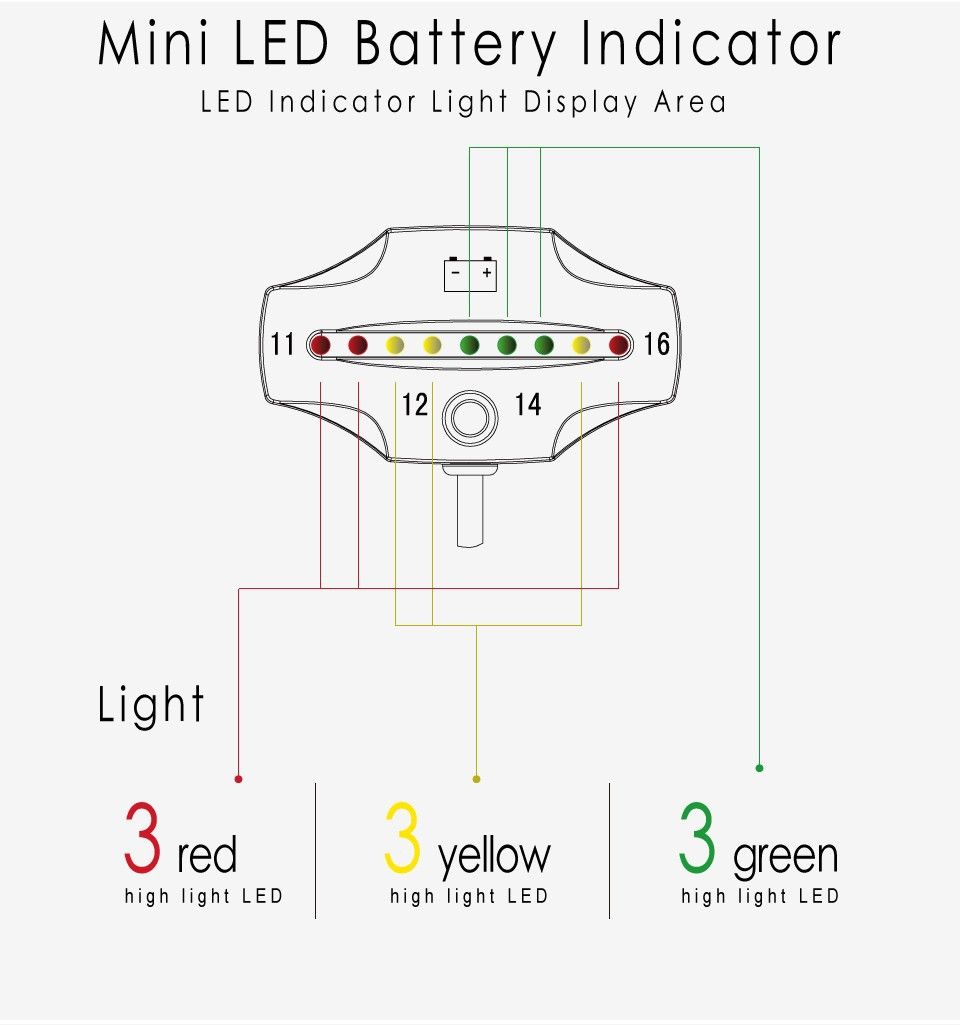 car battery level led indicator