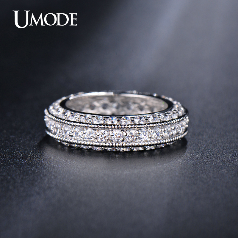 UMODE White Gold Plated Antique Eternity Rings For Women