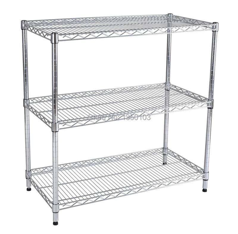 3 Tier chrome folding rack heavy duty wire shelving Chrome